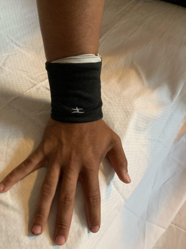 Wrist wallet on a wrist of a man